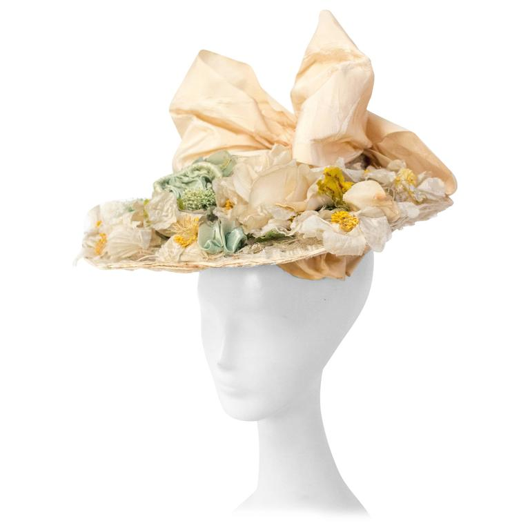 1910s Floral Edwardian Hat w/ Large Bow
