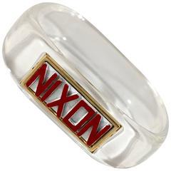 Rare 1968 Lucite Trifari Nixon Bangle Bracelet Presidential Election Memorabilia