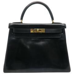 Hermes Kelly 32 Noir Black Box Calf Leather GHW Top Handle Bag