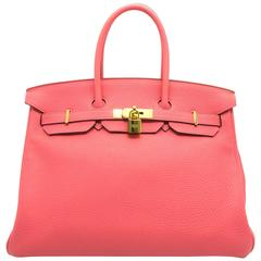 Hermes Birkin 35 Rouge Pivoinve Coral Togo Leather GHW Top Handle Bag