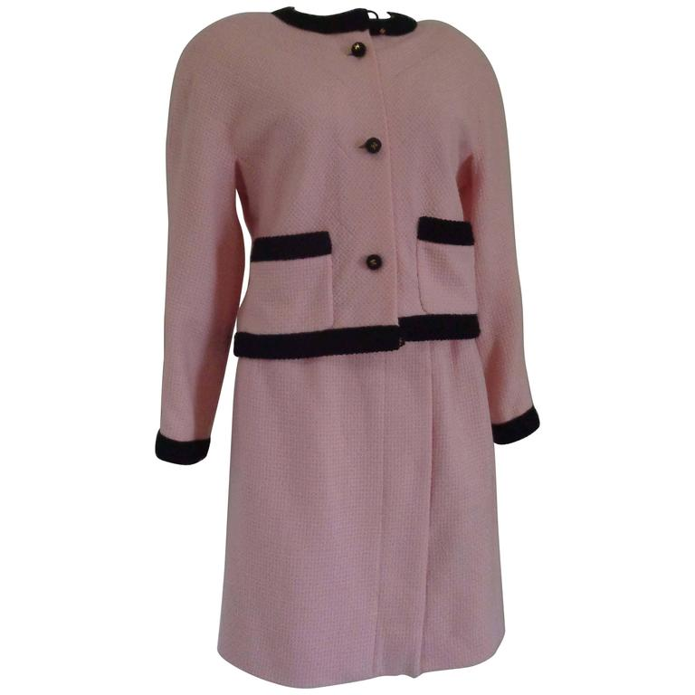 Chanel Pink Black with Gold Hardware Wool Skirt Suit