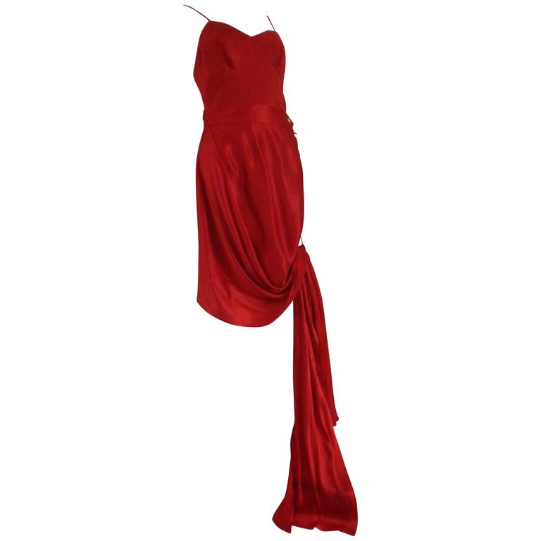 Rare Moschino Red Silk Top and skirt