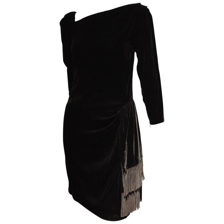Rare 1990s Yves Saint Laurent Rive Gauche Edgy Black Velvet Waist Dress 1