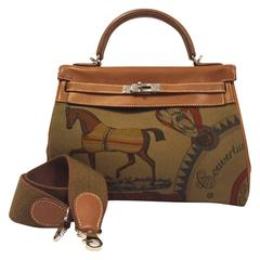 Rare Hermes Amazone Kelly Bag Barenia Horse Print Toile PHW 32 cm