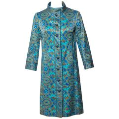 1960s Christian Dior New York  Demi Couture Blue Stained Glass Silk Evening Coat