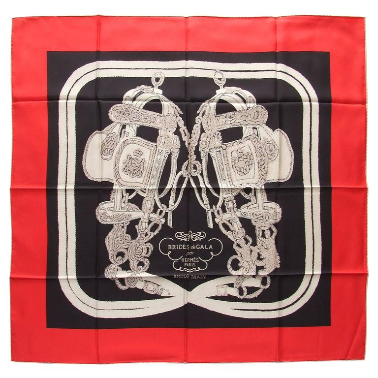 Hermes Silk Scarf Brides de Gala Brode Main Red Black White 90 cm Box