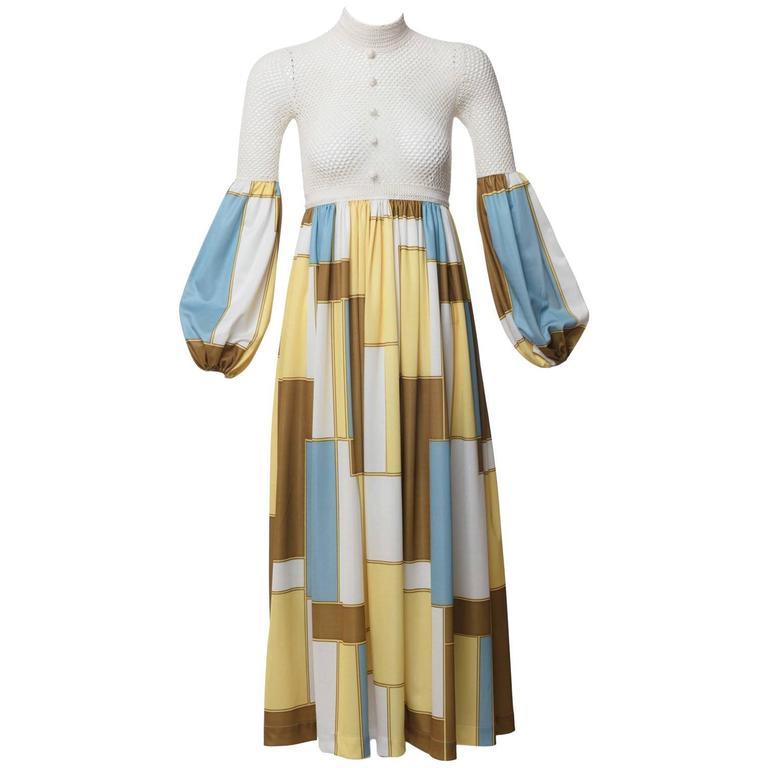 b3b1565707de 1960s Sally Levison of London Crochet Color Block Jersey Maxi Dress For Sale