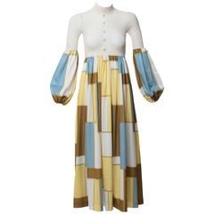 1960s Sally Levison of London Crochet Color Block Jersey Maxi Dress