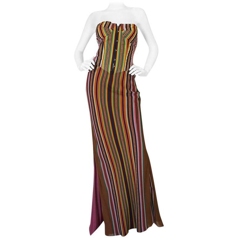 S/S 2002 Galliano for Christian Dior Striped Corset Dress 1