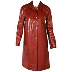 Red Burberry Coated Raincoat