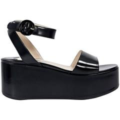 Black Prada Leather Flatform Sandals