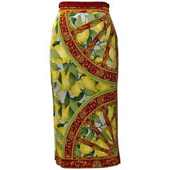 Dolce & Gabbana Lemon and Cart Wheel Print Jersey Pencil Skirt