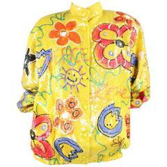 1980's Embellished Sequined Silk Bomber Jacket