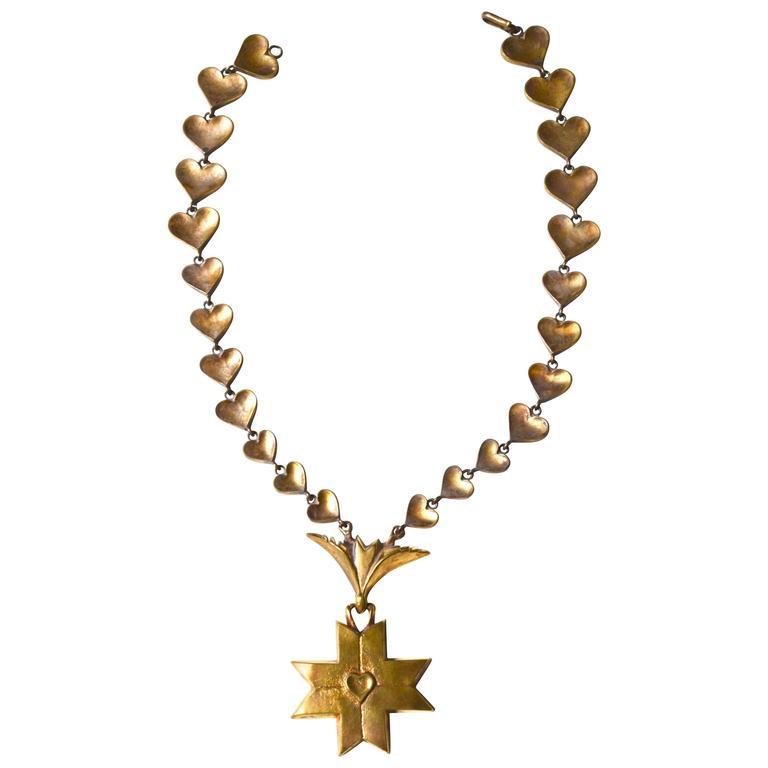 Rare Line Vautrin Gilt Heart Medallion Necklace  1
