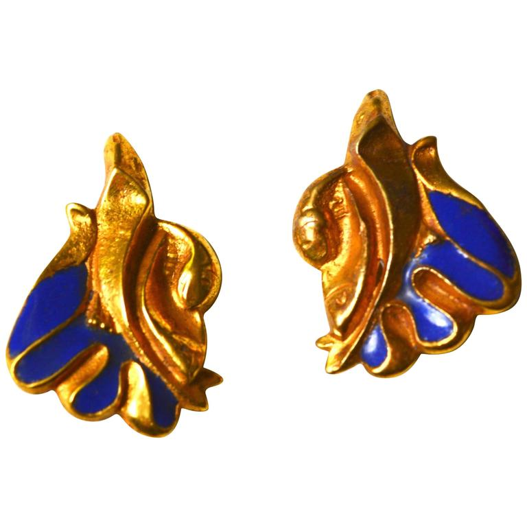 Line Vautrin Blue Enamel Gilt Earrings 1