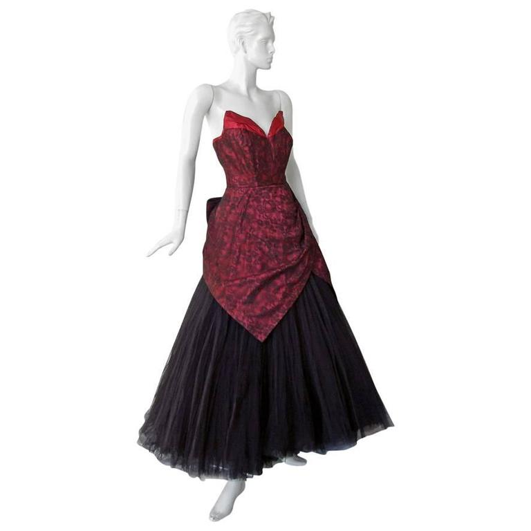 Jacques Heim Haute Couture Chantilly Lace & Tulle Evening Dress Gown 1