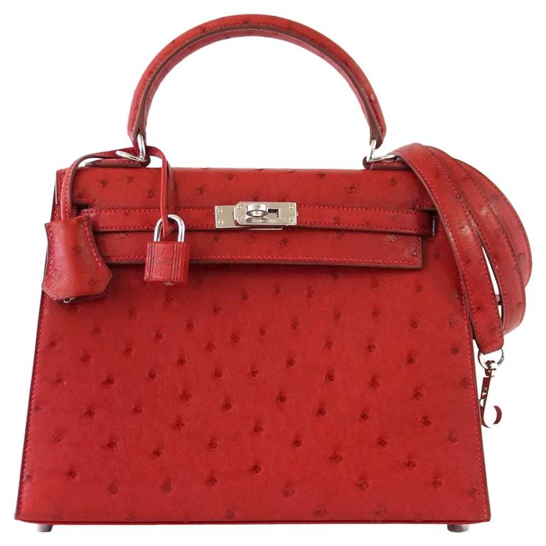 3d4b161752e Hermes Kelly Sellier 25 Bag Ostrich Rare Rouge Vif Pink Topstitch Palladium  For Sale