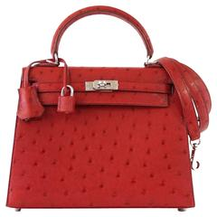 HERMES KELLY Sellier 25 Bag Ostrich Rouge Vif Pink Topstitch Palladium