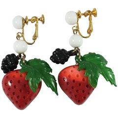 1970s Les Bernard Strawberry Berry Dangle Earrings