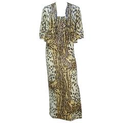 1970's Mollie Parnis Animal Print Sequin Strapless Dress & Jacket