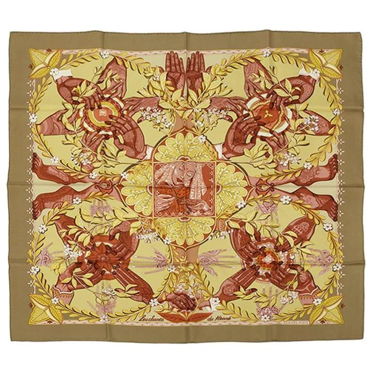 "2002 Hermes ""Les Chants Du Henne"" Silk Twill Carre Scarf"