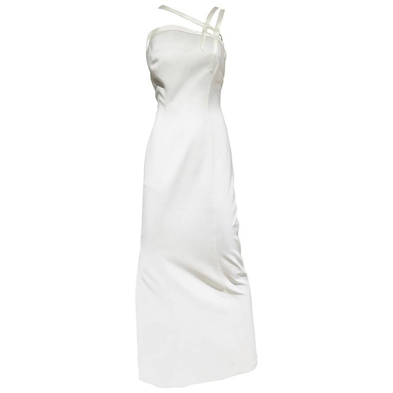 1990s  Vintage THIERRY MUGLER White Crepe Gown with Cut Out Shoulder