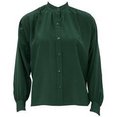 1980s Yves Saint Laurent/YSL Forest Green Silk Blouse