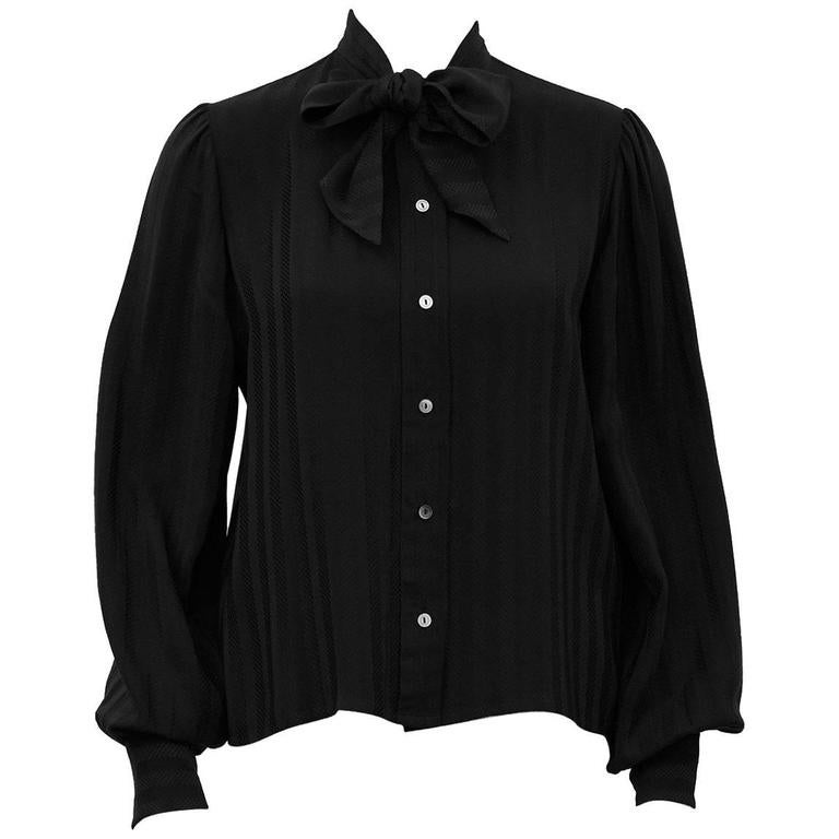 1980s Jean Halm Black Silk Pussybow Blouse
