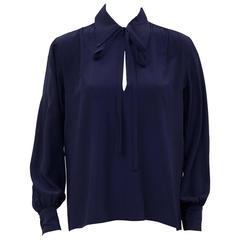 1980s Yves Saint Laurent/YSL Navy Blue Silk Blouse