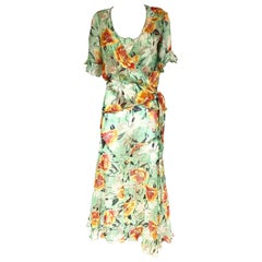 1930s green silk floral print dress with wrap jacket