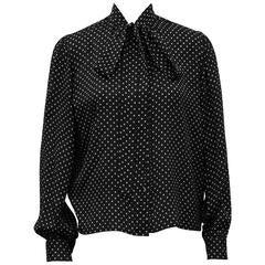 1980s Yves Saint Laurent/YSL Black and White Polka Dot Silk Shirt