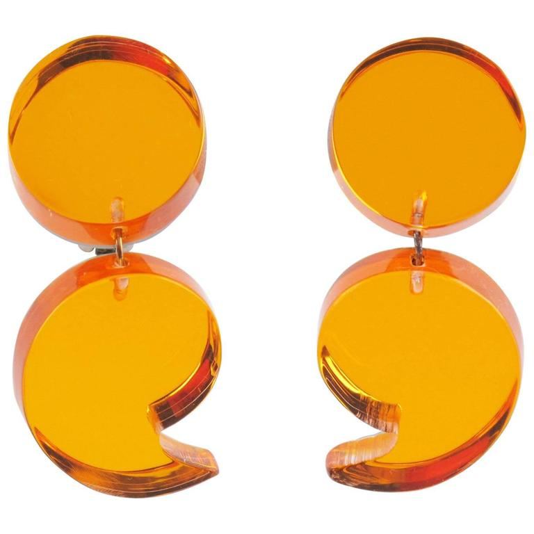 Oversized Neon Orange Lucite Dangle Clip Earrings by Harriet Bauknight for Kaso 1