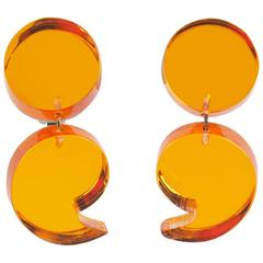 Oversized Neon Orange Lucite Dangle Clip Earrings by Harriet Bauknight for Kaso
