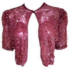 1930s raspberry pink sequin bolero jacket