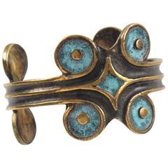 French St Luc Mid Century Modernist Bronze Cuff Bracelet Geometric Enamel