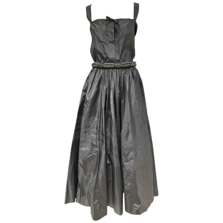 Laura Biagiotti pewter silk top and skirt set, 1980s
