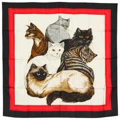 Rare Hermes Chat (Cat) Silk Scarf