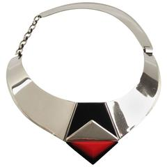 Fabrice Paris Signed Necklace Art Deco Revival Chrome Enamel Resin