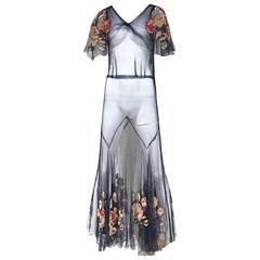 1930s blue net dress with silk applique