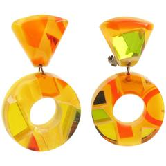 Dangle Loop Lucite Clip on Earrings by Harriet Bauknight for Kaso Sunny Colors