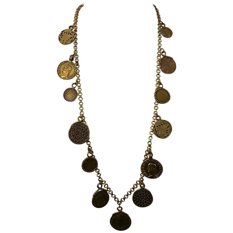 Yves Saint Laurent 1977 Gypsy Coin Medallian Gold Tone Necklace Single Strand 1