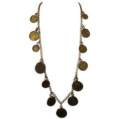 Yves Saint Laurent 1977 Gypsy Coin Medallian Gold Tone Necklace Single Strand