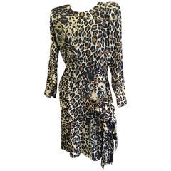 Yves Saint Laurent Rive Gauche Silk Leopard Print Dress