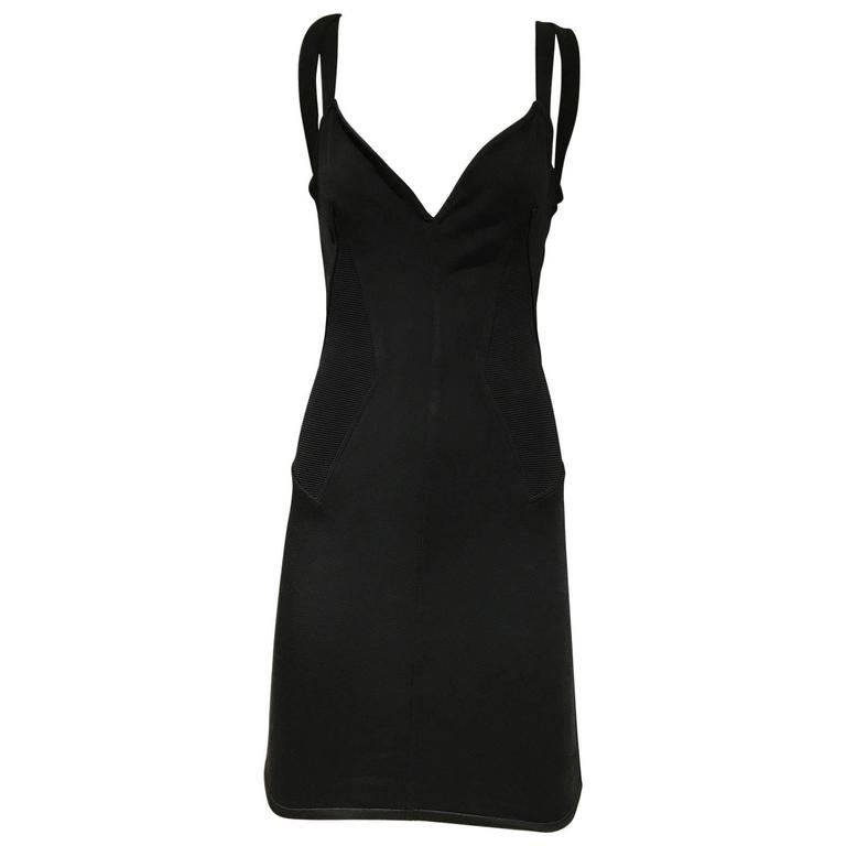 Vintage 1990s  ALAIA Black Knit Dress with Criss Cross Back 90s Dress For Sale