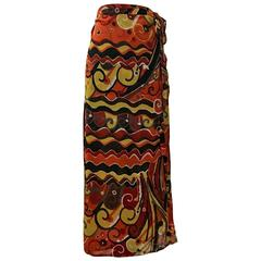 Dolce & Gabbana Orange and Yellow Print Cotton Wrap Skirt Swim Beach Coverup