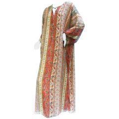Oscar de la Renta Breezy Sheer Festival Caftan Gown ca 1990s