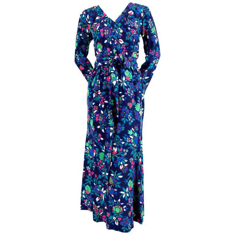 vintage YVES SAINT LAURENT floral dress with long waist tie For Sale