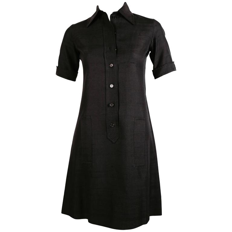 1960's YVES SAINT LAURENT jet black raw silk safari dress 1