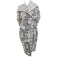 CELINE black and off-white oversized knit runway coat - 2014