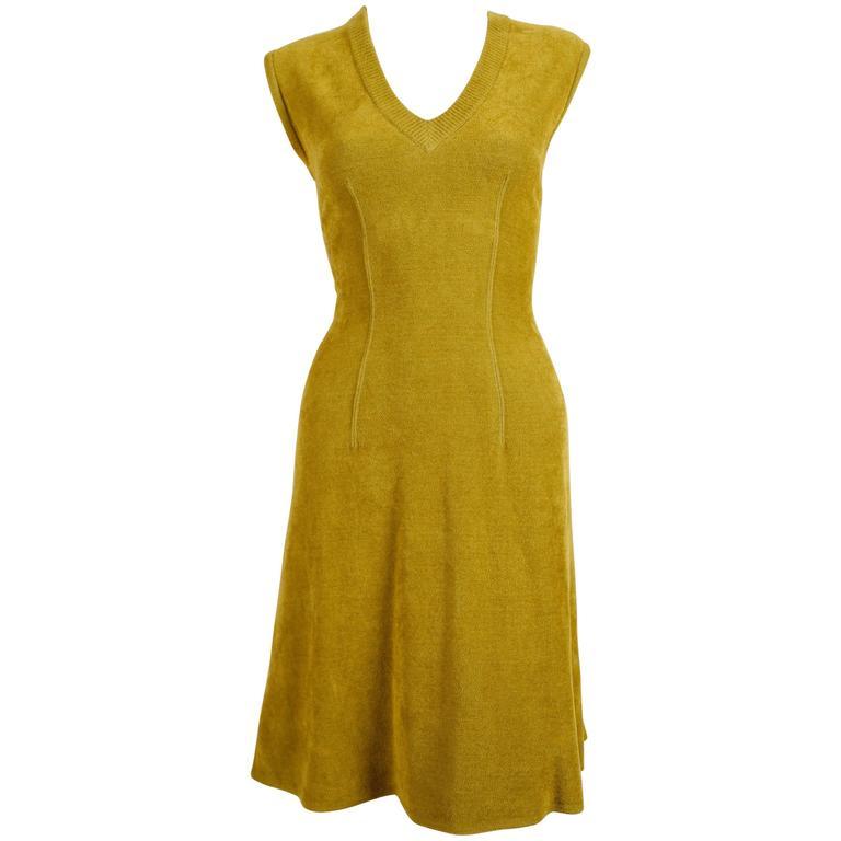 1990's AZZEDINE ALAIA chartreuse chenille dress 1